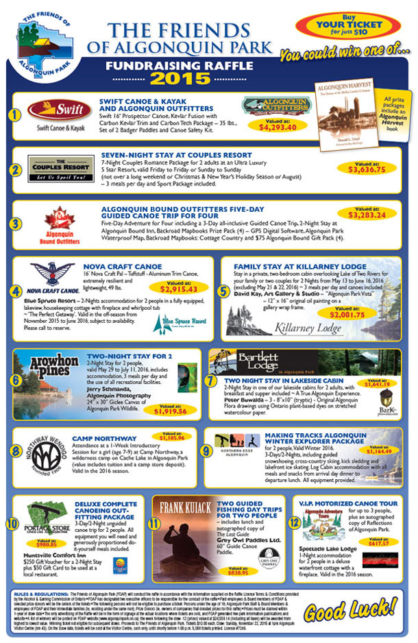2015 The Friends of Algonquin Park Fundraising Raffle Poster