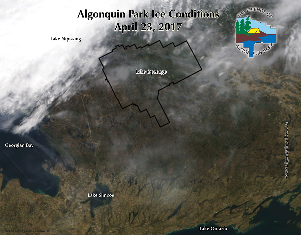 Satellite image showing Algonquin Park ice conditions on April 23, 2017