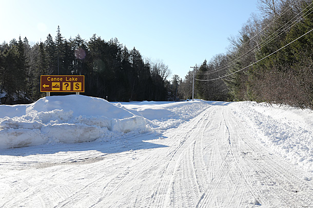 Canoe Lake Access Point parking lots in Algonquin Park on April 4, 2019