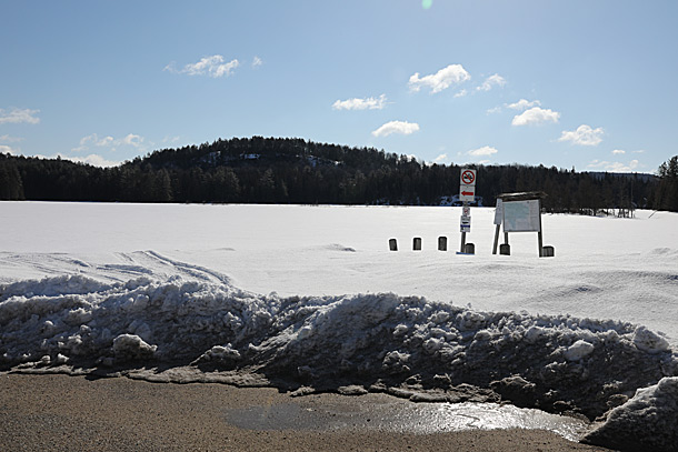 Lake Opeongo Access Point boat ramp in Algonquin Park on April 4, 2019