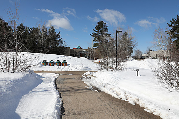 Algonquin Park Visitor Centre parking lot in Algonquin Park on April 4, 2019