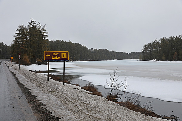 Mew Lake in Algonquin Park on April 9, 2019 (click to enlarge).