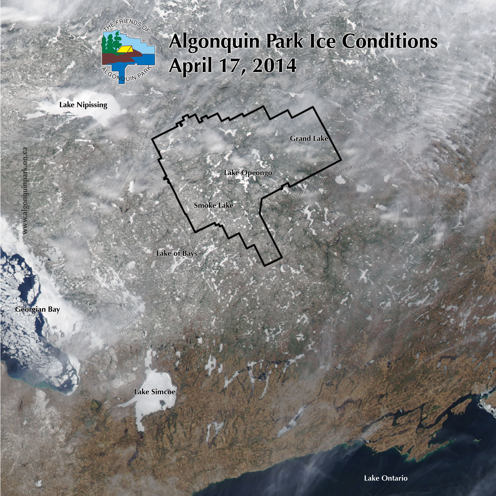 Algonquin Park Ice Cover on April 17, 2014