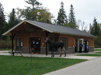 Rock Lake Campground Office (and Moose)