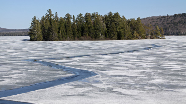 Ice break up on Lake of Two Rivers in Algonquin Park